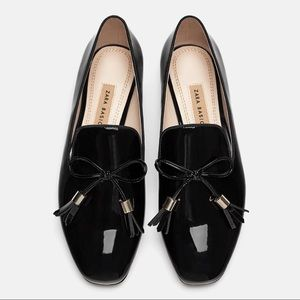 NWT Zara Patent Leather Tassel Loafers